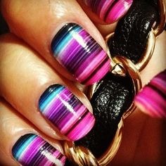 Purple, Pink & Blue Striped Nails