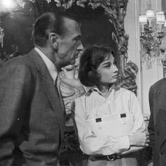 Audrey Hepburn, Gary Cooper, and Maurice Chevalier on the set of Love in the afternoon, 1956