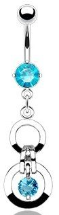 Amazon.com: 316L Surgical Steel Navel Jewelry with Double Hoops and Aqua Blue Crystal CZ: Jewelry