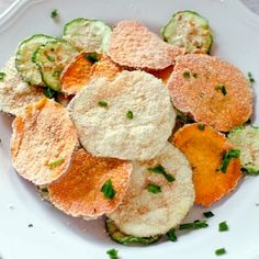 Sour Cream and Onion Veggie Chips! {Microwave} Recipe with potatoes, sweet potatoes, zucchini, powdered buttermilk, kosher salt, parmesan cheese, onion powder, chives, oil