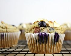 Guilt-free gluten-free blueberry lemon muffins with sliced almonds #clean #detox