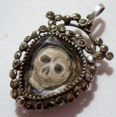 Amazing cut steel skull mourning pendant w/ a lock of hair!