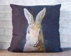 Black blue linen pillow case with rabbit print-animal decorative throw pillow cover - linen pillow case with bunny print - boy gift pillow
