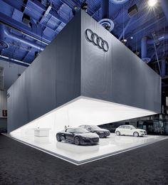 "jury team deemed the Audi booth at CES to be ""brash and self-confident,"" garnering a Gold Award in the Corporate Architecture - Exhibition/Tradeshow subcategory. Exhibition Stand Design, Exhibition Display, Exhibition Space, Trade Show Design, Display Design, Pop Display, Web Banner Design, Design Web, Graphic Design"