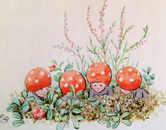 by elsa beskow Elsa Beskow, Mushroom Art, Love Illustration, Vintage Pictures, Potpourri, Faeries, Childrens Books, Fairy Tales, Troll