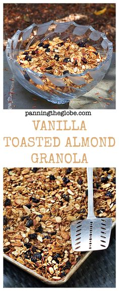Vanilla Toasted Almond Granola - great for breakfast or on top of ice cream! | Panning The Globe