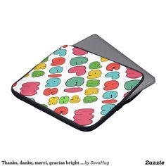 Thanks, danke, merci, gracias bright doodle kids laptop sleeves