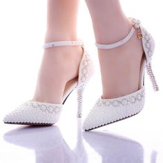 Summer new white Pearl water diamond wedding shoes super high heels take wedding shoes pointed bride shoes female sandals Outdoor Wedding Shoes, White Wedding Shoes, Wedding Heels, Wedding Lace, Formal Wedding, White Shoes, Rhinestone Wedding Shoes, Bridal Shoes, Rhinestone Sandals