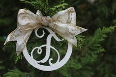 Vine Monogram Christmas Ornaments by PlumPerfectCreations on Etsy, $10.00