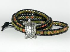 The Grassy Knoll, 4 Wrap Bracelet, Unakite Gemston by Secretvixen.deviantart.com on @deviantART