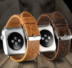 Brown Leather Bands Straps for Apple Watch / Sport by FoxInLondon