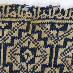 Egypt, Cotton Fragment of a garment knitted in deep blue and white thick cotton yarn, with broad bands of geometric pattern separated by narrow bands of Kufic script repeating the name of Allah. Knitting Socks, Knitting Stitches, Hand Knitting, Knitting Patterns, Textiles, Vintage Knitting, Star Patterns, Knitting Projects, Textile Design