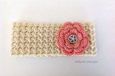Flower Headband, Crystal Headband, Crochet Ear Warmer, Peach And Cream Color, Women Fall/Winter Fashion Accessory, Easter, Ready to Ship!!!