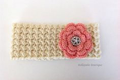 Flower Headband Crystal Headband Crochet Ear by BellaJulieBoutique