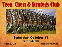 Conquer your foes! Join us in the Teen Room for games of strategy, including Chess, Risk and a few surprises. You never know what challenge awaits you in Strategy Club!
