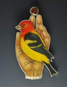 Sarah J.G. Wauzynski: Western Tanager - Casual Manager, Brooch in sterling silver, egg tempera on gesso, 18k gold and almandine garnet.