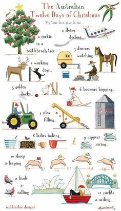 Rodriquez - The Tea Towel People - The Australian 12 Days of Christmas. Aussie Christmas, Twelve Days Of Christmas, 12 Days Of Christmas, Australian Christmas Food, Australian Gifts, Australian Animals, Christmas Bells, Christmas Stuff, Christmas Greetings