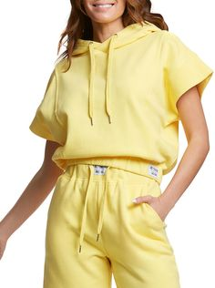 Ribbed Cropped Hoodie Short Sleeve Hoodie, Cropped Hoodie, Short Sleeves, Yellow Hoodie, Juicy Couture, Hoodies, Clothes For Women, French Terry, Outfits