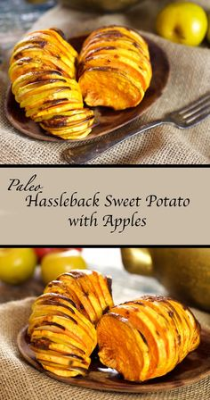 Paleo Hassleback Sweet Potato with Apples. This easy recipe makes a quick, delicious and nutrition-packed breakfast or lunch!