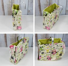 Hook Handle Tote w Attached Strap. Unique HOLIDAY-CHRISTMAS gift. Exclusively Designed & USA made. Car Organizer. Owl-Pink-Green-fabric