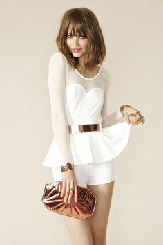 Peplum Mesh Romper... umm  love the gold belt too. put a top knot on that biaaaa and she's readay to goww