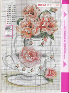 Tea Set Cross Stitch Pattern free