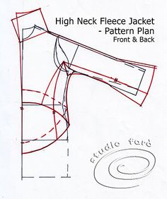 The detailed Pattern Plan for the High Neck Fleece jacket. http://ow.ly/ngi7N Learn to cut patterns like this in our studio in Marrickville - http://www.studiofaro.com/introductory