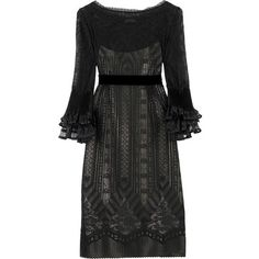 Philosophy Di Alberta Ferretti Lace ruffle dress (£275) ❤ liked on Polyvore featuring dresses, black, vestidos, black dress, lace sleeve dress, black lace dress, black slip, lace sleeve cocktail dress and flutter sleeve dress