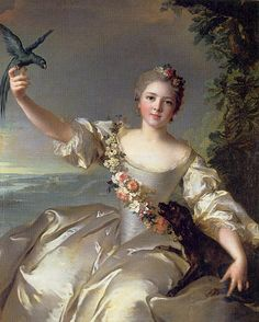Jean-Marc Nattier - Portrait of the Marquise Antin with a parrot, 1738