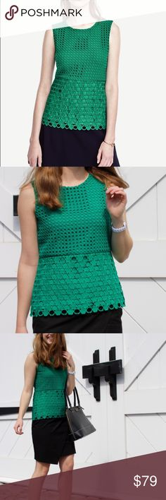 Mixed eyelet shell in emerald NWT - make a statement with this emerald eyelet top this fall! SOLD OUT STYLE Ann Taylor Tops