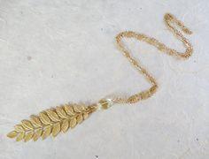 Golden Leaf necklace Lemon quartz by ChrisAllenJewelry on Etsy