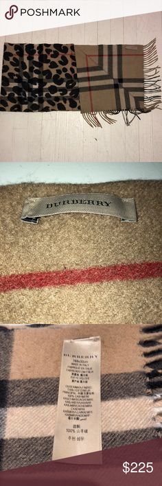 "Burberry 100% Cashmere Nova Check Leopard Scarf 100% Cashmere Burberry scarf purchased from Nieman Marcus. Nova check patterned with leopard on top on one side. Plain Nova check on the other side. Fringe on ends. Measurements: 66 X 11 5/8"" - 2 3/4"" Burberry Accessories Scarves & Wraps"
