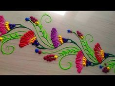border rangoli designs easy and simple by Jyoti Rathod Rangoli has a unique place in Indian culture, Rangoli is an Indian art. The rangoli is drawn in front . Rangoli Borders, Rangoli Patterns, Rangoli Ideas, Rangoli Designs Diwali, Machine Embroidery Applique, Hand Embroidery Designs, Festival Rangoli, Craft Projects, Projects To Try