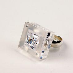 Modern fairytale ring with princess cut cubic by FairinaCheng, via Etsy.