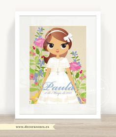 Lámina de flores de colores para Paula con vestido clásico de jaretas. #comuniones #RecordatoriosdeComunion #primeracomunion