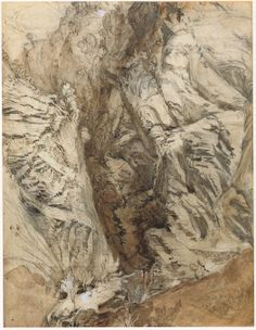 """john ruskin - """"ravine at maglans"""", pencil, brown ink and ink wash heightened with bodycolour, on white paper, c. 1849 (ruskin library, lancaster university)"""