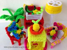 arts and crafts for kids - pipe cleaner dollhouse furniture