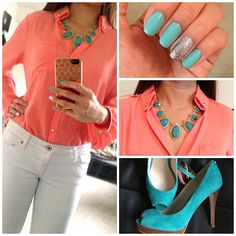 Coral Blouse with Turquoise Accessories