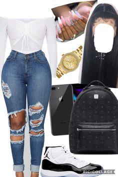 #jordanoutfitidea #girlsjordanoutfitidea #schooloutfitidea #urbanoutfitidea Baddie Outfits Casual, Cute Swag Outfits, Trendy Outfits, Beach Outfits, Casual Attire, Jordan Outfits For Girls, Outfits For Teens, Mode Kylie Jenner, Looks Black
