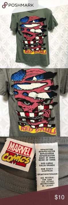 "Marvel Comics Captain America Red Skull Tee Marvel Comics Captain America Red Skull Tee NWOT.                 Measurements Laying Flat Size 🔹 L Armpit to Armpit 🔹22"" Shoulder to Hem 🔹29"" Bundle to Save 🤓 Sorry NO outside transactions 🚫 NO trades 🚫 Reasonable Offers welcomed 👍 NO Low balling 👎 NO modeling 👎 NO Holds👎 All items from a pet 😼and Smoke Free Home  Happy Poshing 🤗 Marvel Shirts Tees - Short Sleeve"