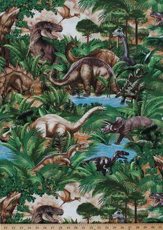 Lost World Tossed Dinos Dinosaur T-Rex Stegasaurus Tan Cotton Fabric by the Yard