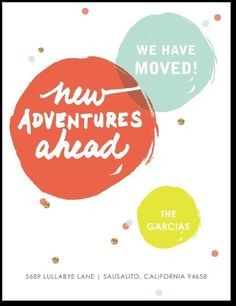 Adventures Ahead - Moving Announcement Postcards - Chewing the Cud - Orange : Front New Address Announcement, Birth Announcement Boy, Birthday Party Invitations, Invites, Shower Invitations, Moving Announcements, Change Of Address, Tiny Prints, Moving Tips