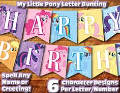 Printable My Little Pony Birthday Decoration / My Little Pony Banner Decor Instant Digital Download Birthday Bunting Banner Twilight Sparkle