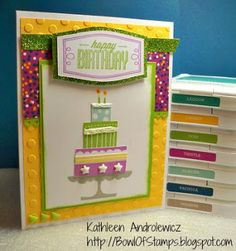Life's like a Bowl of Stamps: August 2015 Stamp of the Month Blog Hop #ConfettiWishes #D1618BuildACake #Artistry - card front