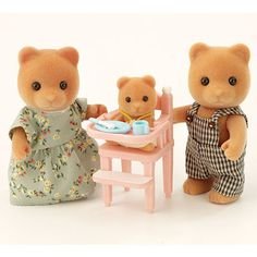 Sylvanian Families Bears- used to have these :D  And used to have a little toilet bowl that flushed, too.