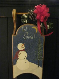 Hand painted wooden sled