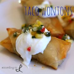 Taco Tuesday reinvented...taco wontons...how fun!! Could substitute shredded chicken or pork for the beef. Even make them meatless with beans.