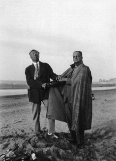"Wassily Kandinsky and Paul Klee. Photo: Lily Klee, 1929. ""Colour possesses me. I don't have to pursue it. It will possess me always. I know it. That is the meaning of this happy hour: colour and I are one. I am a painter."" Klee diaries. April 1914. Tunisia."