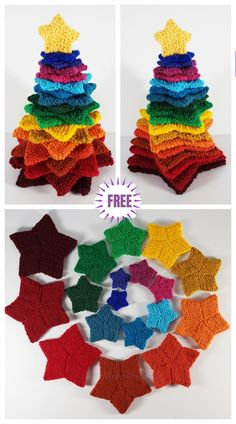 Free Knitting Pattern for Stacking Stars Tree Knitting pattern for nine different sizes of garter stitch stars ranging from 2 6 which can be stacked together to make a Christmas or other tree.Knit Rainbow Stacking Stars Christmas Tree Free Knitting P Knitted Christmas Decorations, Crochet Christmas Trees, Christmas Crafts, Christmas Star, Holiday Decor, Knit Christmas Ornaments, Rainbow Christmas Tree, Xmas, Christmas Ideas