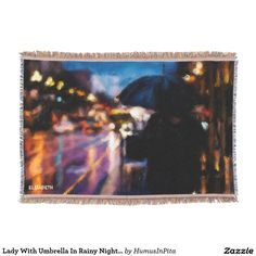 Lady With Umbrella In Rainy Night Moody Drawing Throw Blanket